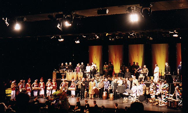 The performers on stage at EXPO 2000