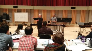 """Leigh Howard Stevens addresses Eastman percussion students, after grad student Darren Lin's performance of the marimba solo, """"See Ya' Thursday,"""" by Steven Mackie"""