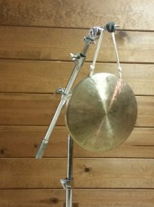 Photo 7 - Gong suspended from a single point on a boom cymbal stand