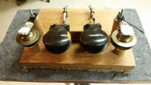 """This castanet machine was made for """"Samson & Delilah"""" by C. Saint-Saens when I was in the Rochester Philharmonic. The score calls for castanets of wood and metal. The wooden castanets are from Spain and the metal castanets are finger cymbals."""