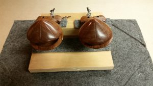 The castanets on this machine were purchased at a music store in Madrid, Spain. They are mid-sized (there were also larger sizes displayed in the store), and the pitch is considerably lower than is commonly heard in the orchestra repertoire.