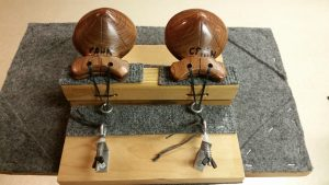 Rear view of machine with castanets from Madrid, Spain.