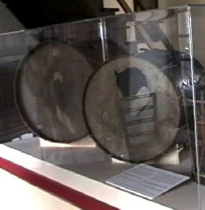 left: the Joseph Brown bass drum/right: the Haskell Spencer bass drum (ca. 1824) with a broken drumhead