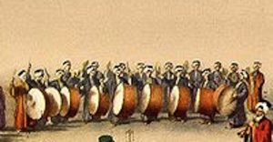 A depiction of a row of Turkish Bass Drummers