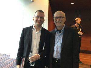 Alex Ross and Russell Hartenberger at Milton Court, Barbican Centre, Nov. 5, 2016. Photo: Bonnie Sheckter.