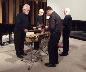 Nexus members Garry Kvistad, Russell Hartenberger, and Bob Becker performing Drumming, Part I with Steve Reich at Integral House in Toronto, April 11, 2016. Photo courtesy of Soundstreams Canada.
