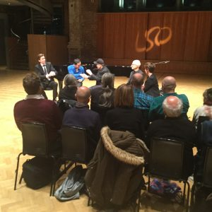Discussion at St. Luke's church with (l. to r.) Vincent Corver, Chi-Yu Mo, Steve Reich, Russell Hartenberger, Sarah Mohr-Pietsch, at LSO Discovery Day, November 6, 2016. Photo: Bonnie Sheckter.